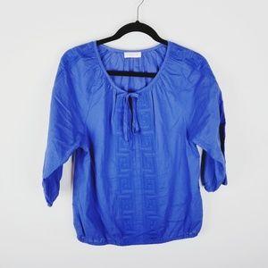 Isaac  Mizrahi peasant embroidered boho blue top